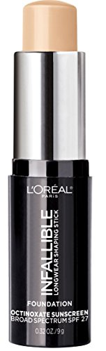 L'Oreal Paris Makeup Infallible Longwear Foundation Shaping Stick, Up to 24hr Wear, Medium to Full Coverage Cream Foundation Stick, 402 Nude Beige, 0.3 oz.