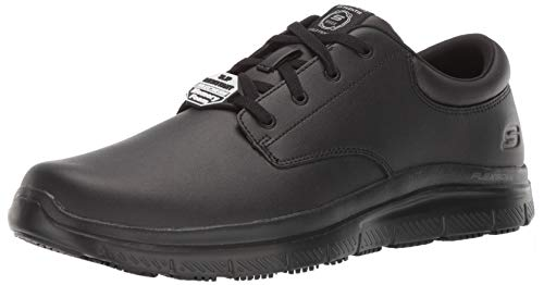 Skechers Men's Flex Advantage SR Fourche Food Service Shoe, Black, 8 M US (Skechers Oxford Mens Shoes)