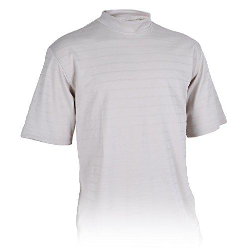 (Monterey Club Mens Dry Swing Tonal Title Plaid Texture Mock Neck Shirt #3292 (Stone, Large))