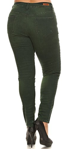 cheap Women's Plus Size Jeans Mid Rise Skinny Destroyed Ripped Distressed Stretch Denim Pants with Whiskers and Hand Sanding