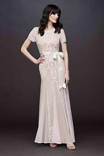62db4885 David's Bridal Short Sleeve Illusion Beaded Sheath with Godets Style 5265