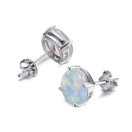 JunXin Jewelry Fire White Color Round Cut Opal Stud Earring 7.5MM ()