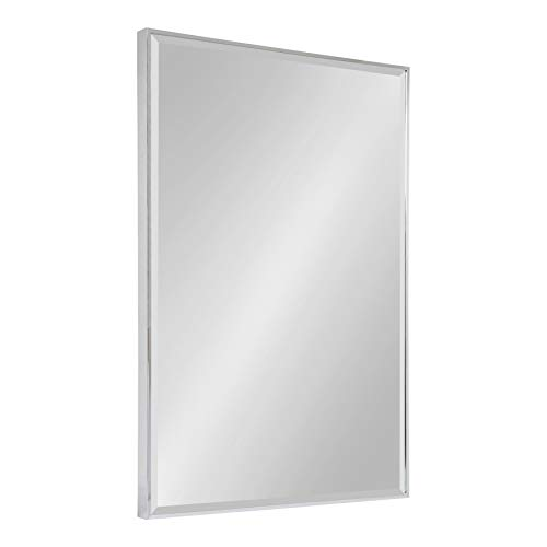 Kate and Laurel Rhodes Large Framed Decorative Rectangle Wall Mirror, 24.75x36.75 Chrome - Bathroom Teak Mirrors Framed