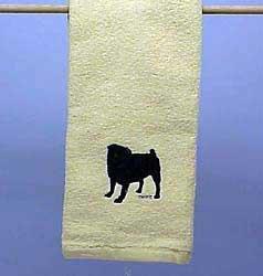 Black Pug Embroidered Hand Towel