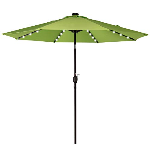 Sundale Outdoor Solar Powered 32 LED Lighted Patio Umbrella Table Market Umbrella with Crank and Push Button Tilt for Garden, Deck, Backyard, Pool, 8 Steel Ribs, 9 Feet, Apple Green