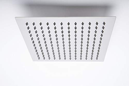 ANMEX® 10X10  10inch  UltraSlim Stailness Steel Heavy Rain Shower Head Without Arm  Silver, Chrome Finish