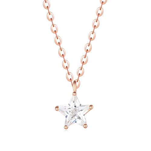 Carleen 18K Rose Gold Plated 925 Sterling Silver Star Shape Solitaire CZ Cubic Zirconia Dainty Pendant Necklace for Women Girls with 15.75