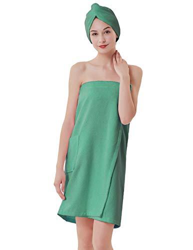 Women Towel Wraps Plush Soft Terry Cotton Bathrobe Shower Robes Light Green L