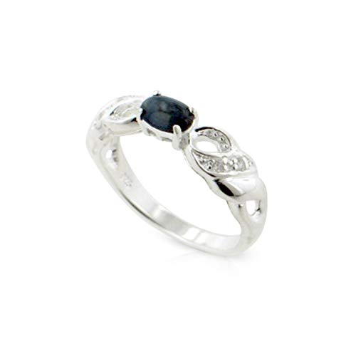 (Genuine Blue Star Sapphire Sterling Silver Ribbon Band Ring Size 8(Sizes 5,6,7,8,9,10))