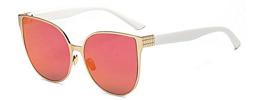 Ladies Vintage Cat Eye Sunglasses White- Gold metal Frame Purple Lens UV 400 OWL