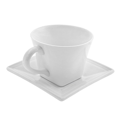 Whittier White 8-oz Flared Cup and Saucers (Set of 4)
