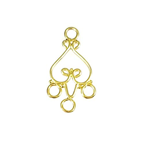 24k Gold Vermeil Over Sterling Silver 925 Chandelier Heart Connector Earring Findings for Jewelry Making (B)
