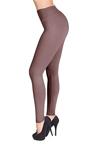 - SATINA High Waisted Leggings - 22 Colors - Super Soft Full Length Opaque Slim (One Size, Mauve)
