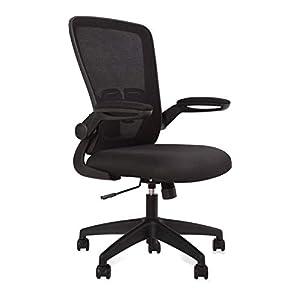 Aiidoits Chaise de Bureau Ergonomique avec Accoudoirs Pliables,Fauteuil Pivotant en Maille à roulettes Silencieuses…