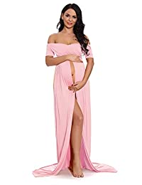 ZIUMUDY Maternity Off Shoulder Wraped Ruched Gown Split Front Maxi Photography Dress
