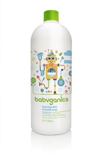 BabyGanics Foaming Dish Soap Refill, Fragrance Free, 32 fl. oz. (Pack of 2), Packaging May Vary