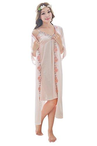 Camellia12 Silk Gorgeous Slip & Robe Set,2PC Long Sleepwear & Floral Lace Trim (peachpuff) (Silk Vintage Slip)