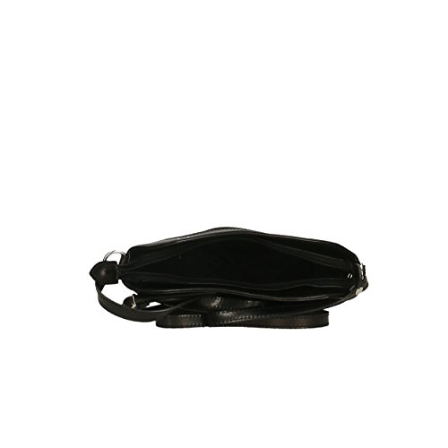 Hombro de de para genuina Piel Shoulder Negro Aren Mujer 22x19x7 Italy Cm Bag Bolso in Made wIqpxRg