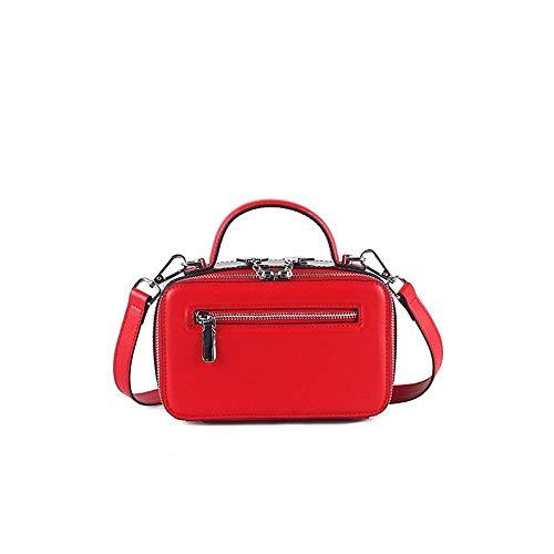 doppia a a con Moontang pelle quadrata retro Dimensione rosso colore colori con in Rosa tracolla in pelle Rosso a semplice Borsa tasca doppia tracolla Colore anpfZp