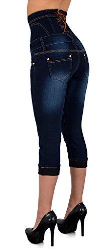 Jeans dechir J350 bleu Taille Grande tex Femme Femmes by Taille pour Fonce J352 Haute Capri Pantacourt Pantalon Jean gfq66x8z