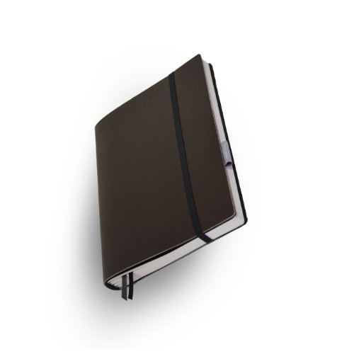 Whitebook Standard S023-SL, modulares Notizbuch, Rindleder geschnitten, dunkelbraun, 240 S. Papier FSC (iPad Air & Samsung Galaxy 10.1 2014 integrierbar, Inhaltshefte nachfüllbar)