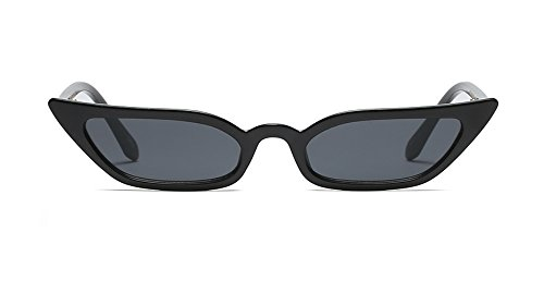 (Super Skinny Narrow Geometric Small Sunglasses for Women Men Plastic Slim Frame (Slim Cateye 52mm Black, 53))
