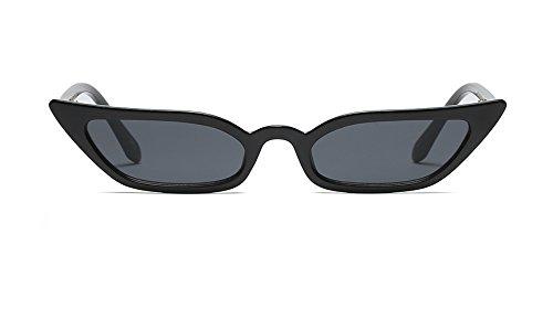 Women Cateye Sunglasses Half Rimmed 60s Semi-cateye Shades Small Jeweled Frame (52mm Slim Cateye Black, 55) (Tone Sunglasses Brown Plastic Two)