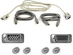 KEYBOARD & MOUSE & VIDEO CABLE KIT / 6 PIN PS/2/ HD-15 / 6 PIN PS/2/ HD-15 (M) (A3X982) -