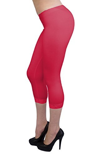 Vivian's Fashions Capri Leggings - Cotton, Lace Trim, Junior Sz (Red, 1X)