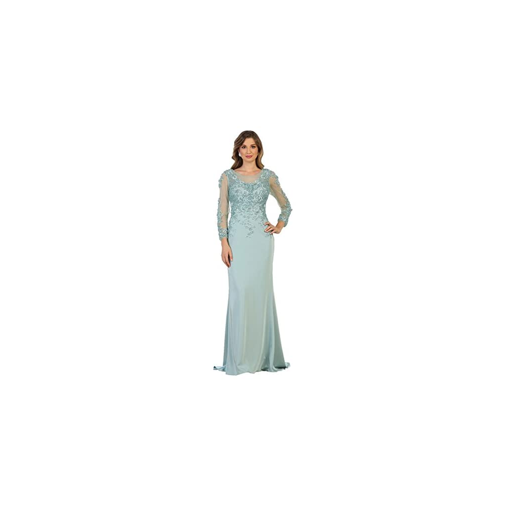 46d139f126f Formal Dress Shops Inc by Royal Queen RQ7594 Long Sleeve Modern Mother of  The Bride Gown (Sage