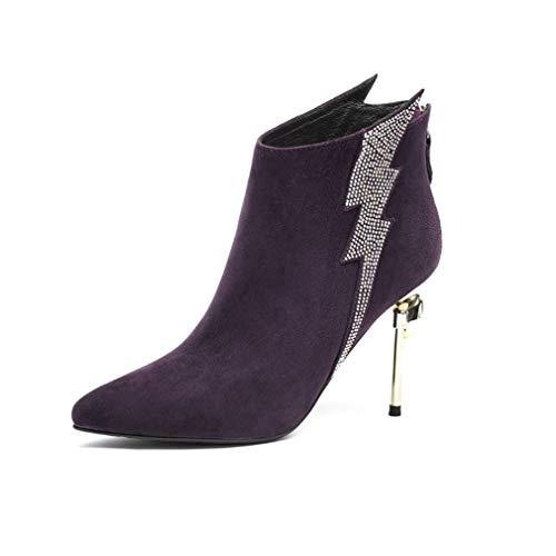De Botas Fiesta Y Mujer Otoño Gamuza Dama Moda Alto Yan Púrpura Formales La Zapatos Tacón Vestir Noche Para Tobillo Invierno Con d5q1xnawO