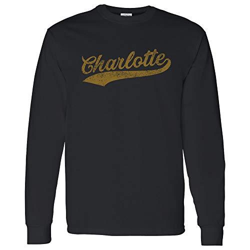 harlotte Baseball Script - Hometown Pride, Pitcher Long Sleeve T Shirt - Large - Black ()