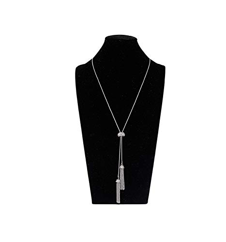 LIAO Jewelry Tassel Pendant Lariat Y Necklace Long Snake Chain Necklaces with Adjustable Crystal Slider Ball (Silver)