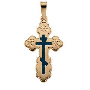 Or jaune 14carats Pendentif Croix orthodoxe incrustation Bleu 40x 26mm