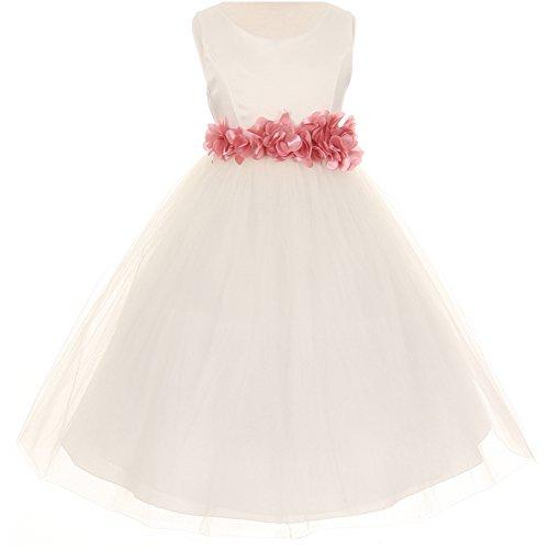 Big Girls Sleeveless Satin Bodice Layers Tulle Skirt Petals Ribbon Sash Flower Girl Dress Ivory Dusty Rose - Size 10
