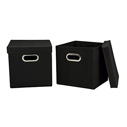 Household Essentials Cube Set with Lids Black 2-Pack