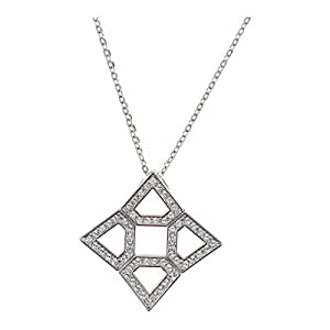 Oliver Weber Women's VW Large Rhodium Crystal Pendant Necklace