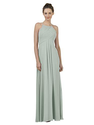 Alicepub Long Chiffon Bridesmaid Dress Maxi Evening Gown A Line Plus Party Dress, Sage Green, US2 ()