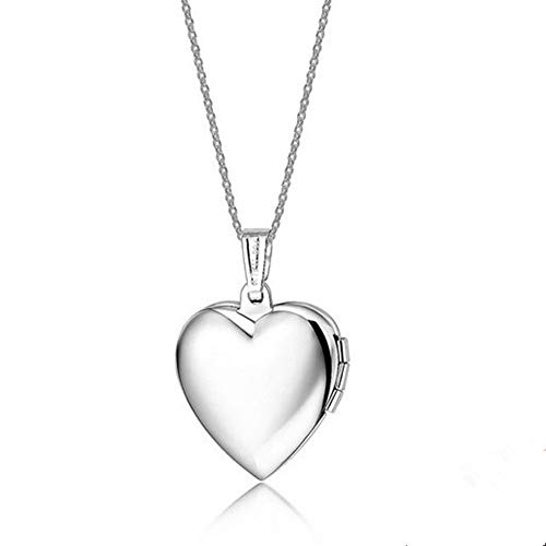LF Womens Girls Stainless Stee Silver Personalized Name Date Love Custom Heart Locket Necklace that Holds Pictures Openable Photo Pendant for Mom,Daughter,Wife,Girlfriend,Free Engraving Customized