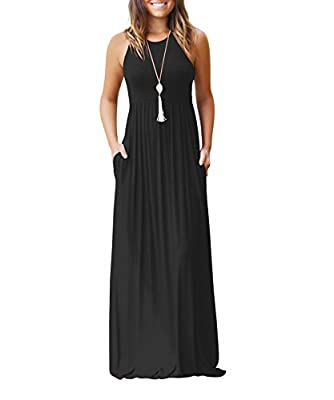 AAMILIFE Women 's Sleeveless Racerback Casual Loose Plain Long Maxi Dresses with Pockets