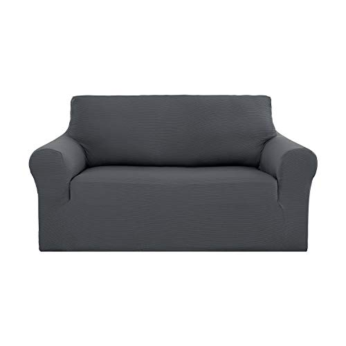 Deconovo Stretch Strapless Sofa Slipcover Solid Color Premium Pet Dog Grey Loveseat Sofa ()