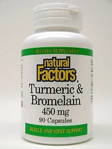 Natural Factors Curcuma et broméline (300mg/150mg) 450 mg capsules au total, 90-Count