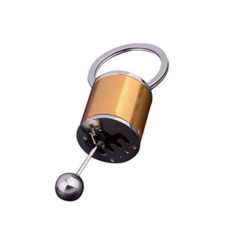 (Lavany Key Chain Gear Knob Gear Shifter Shape Stick Metal Key Fob Car Keyring Gift (Gold))