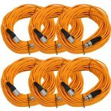 Seismic AudioSAXLX-100Orange6 Pack of 100-Feet Orange XLR Male to XLR Female Microphone Cables, Balanced by Seismic Audio
