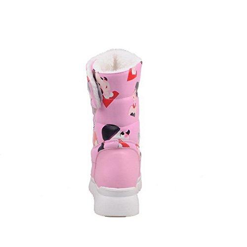 Baja Animados Tacón Mini AllhqFashion Rosa de Patron Mujeres Dibujos Velcro Caña Botas F8EqwxIAq