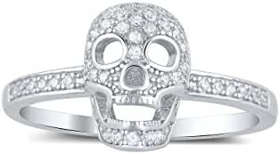 Sterling Silver Pave Cz Skull Ring (Size 4 - 9)