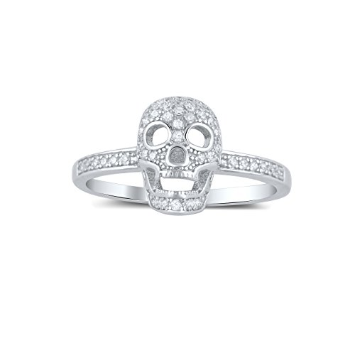 - Sterling Silver Pave Cz Skull Ring - Size 7