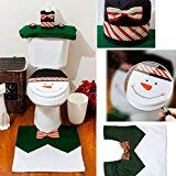 ETbotu Santa Toilet Seat Cover and Rug Set (Green)