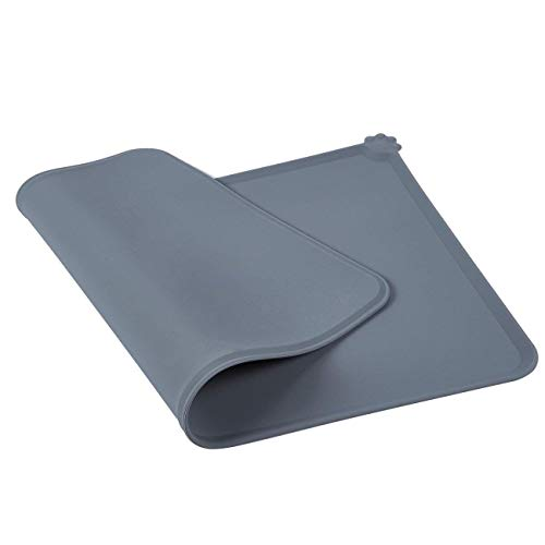 Juvale Pet Food Tray - 2-Pack Silicone Pet Food Mat, Waterproof Pet Feeding Tray with Non-Slip Bottom and Raised Edges, Grey by Juvale (Image #4)