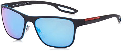 Prada Linea Rossa  Men's 0PS 56QS Azure/Black Rubber/Light Green Mirror Blue - Sunglasses Man Prada